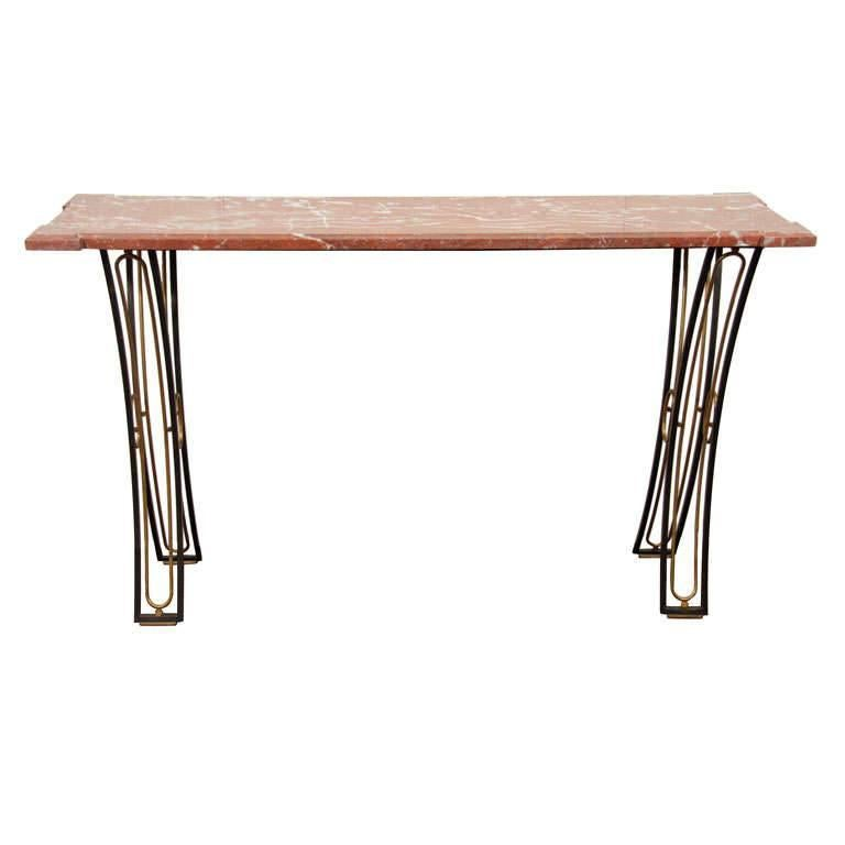 Wrought Iron and Marble Wall Console by Gilbert Poillerat