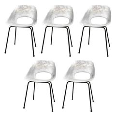 Set of Five Molded Aluminum Chairs by Pierre Guariche, France, 1960s