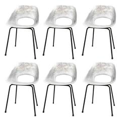 Set of six Molded Aluminum Chairs by Pierre Guariche, France, 1960s