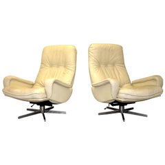 Vintage De Sede S 231 James Bond Swivel Lounge Armchairs, Switzerland 1960`s