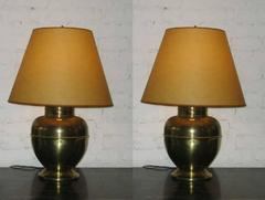 Pair of British Mid-Century Brass Baluster Table Lamps