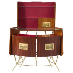 Italian Dry Bar in Rosewood, Brass and Glass