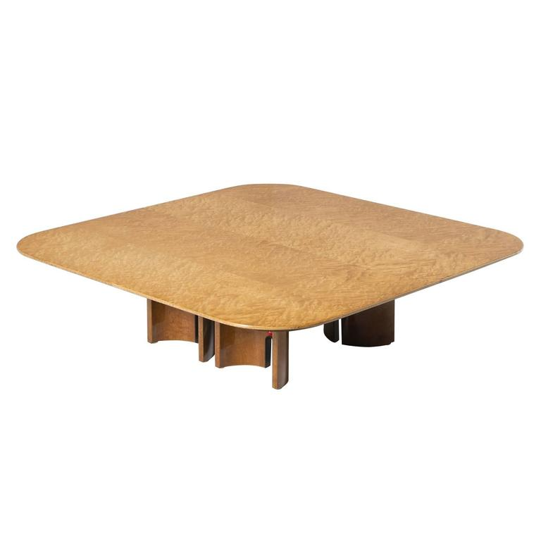 Saporiti Large Coffee Table In Bird's-Eye Maple For Sale