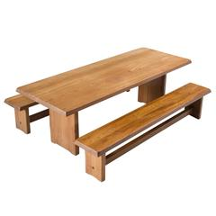 Pierre Chapo Dining Table and Two Benches in Solid Elm