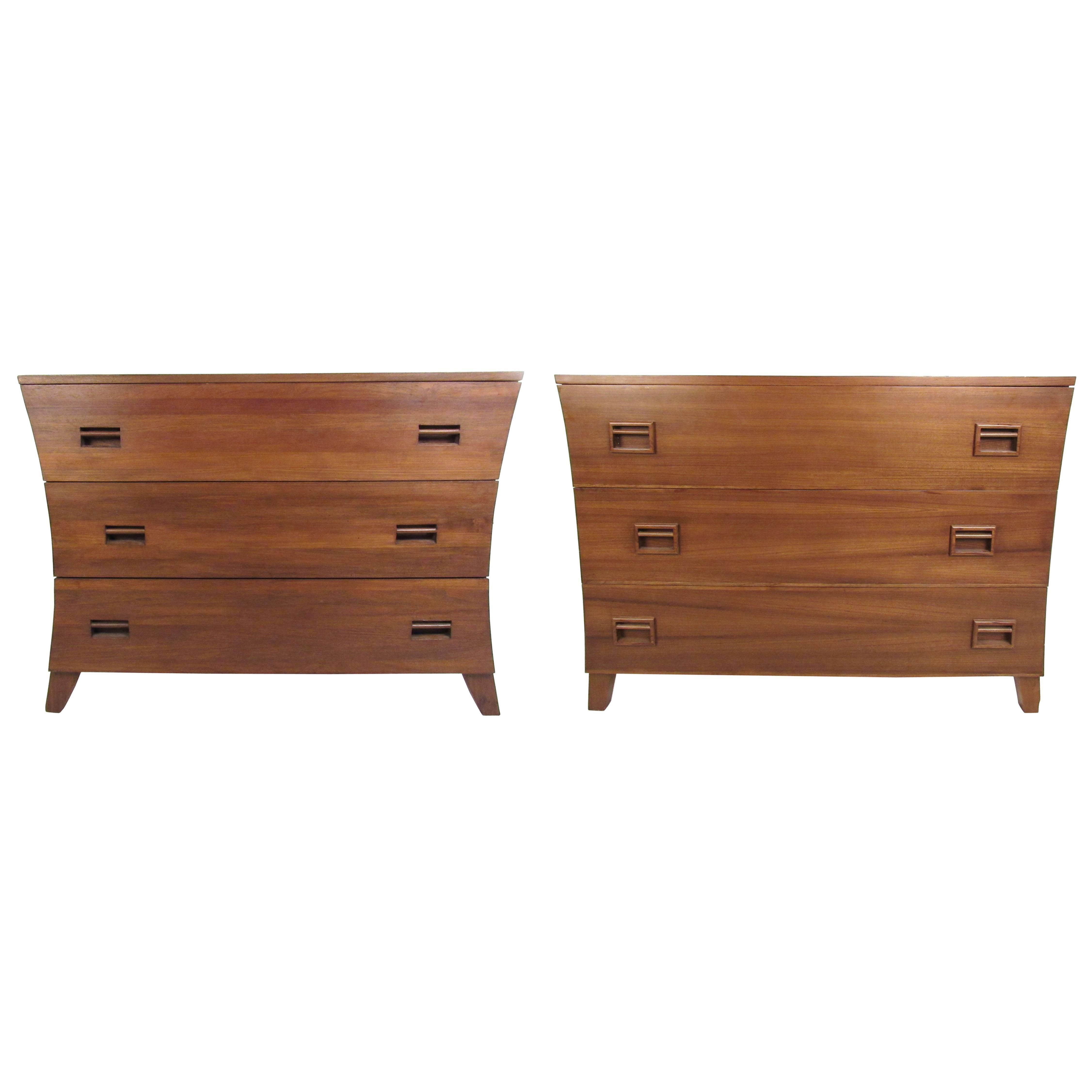 Pair Vintage Three Drawer Dressers