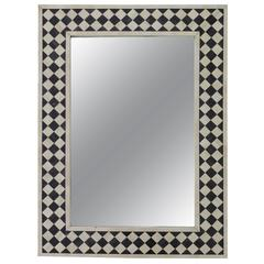 Anglo-Indian Black and White Bone Inlay Mirror Checkerboard Design
