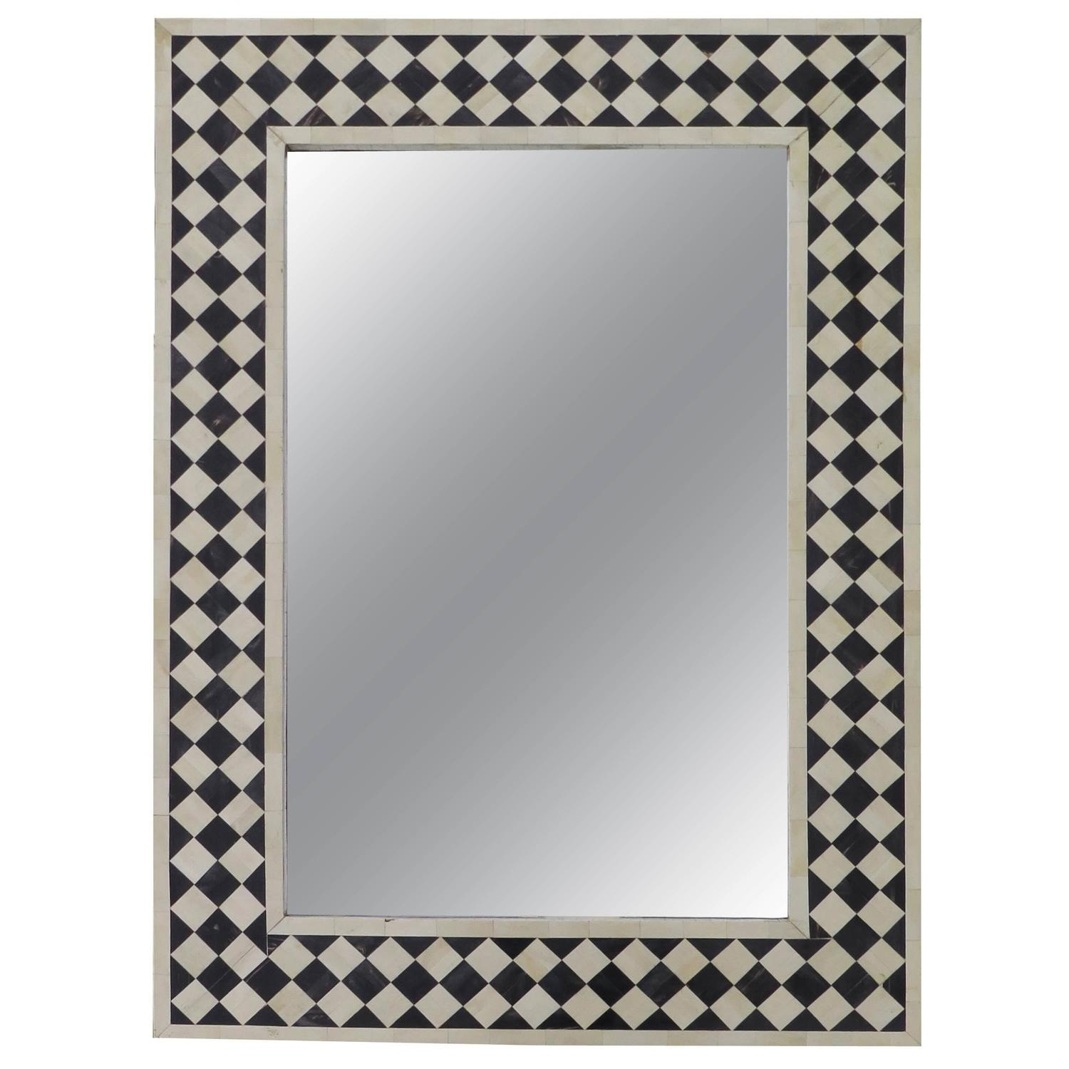 Arched gilt mirror at 1stdibs - Anglo Indian Black And White Bone Inlay Mirror Checkerboard Design