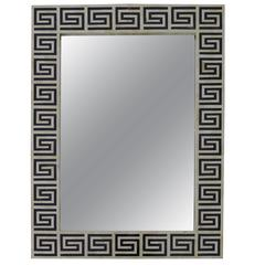 Pair of Black and White Bone Mirrors  Greek Key Design, Style of Karl Springer