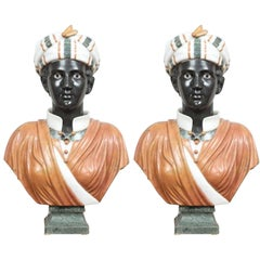 Two Specimen Marble Busts of Blackamoors