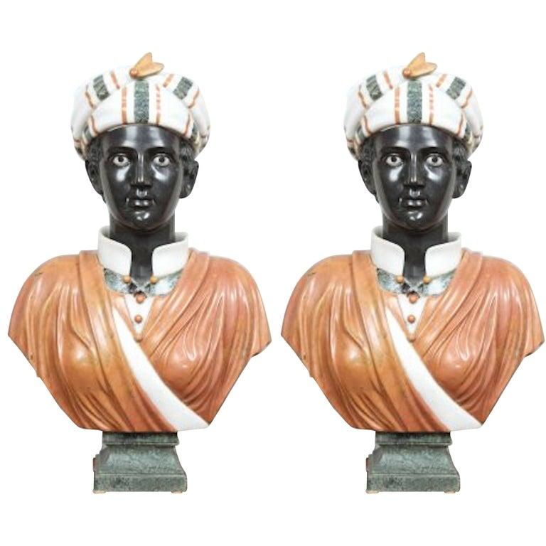 Two Specimen Marble Busts of Blackamoors