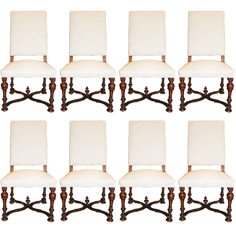 Set of Eight Louis XIV Walnut Chairs 1