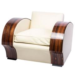 Art Deco South African Macassar Club Chair or Armchair
