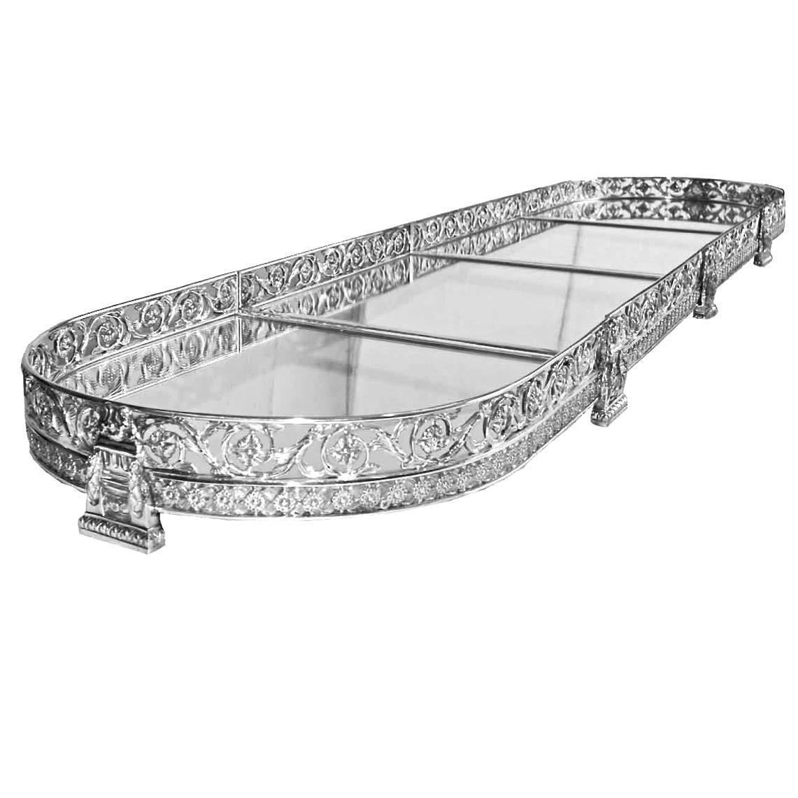 Four Sectional Mirrored Top Table Plateau For Sale At 1stdibs