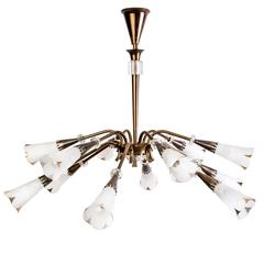 Mid-Century Genet et Michon Chandelier with Shades by Sevres