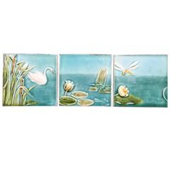Swan, Dragonfly and Lotus Art Nouveau Tile Collection, Beautiful Blue  FREE SHIP
