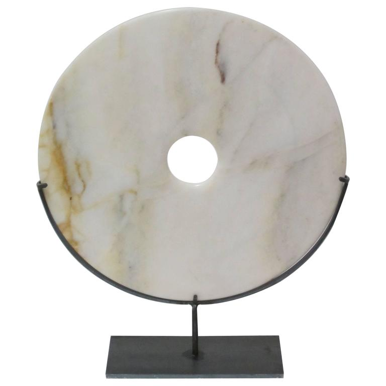 Cream Stone Disc Sculpture, China, Contemporary