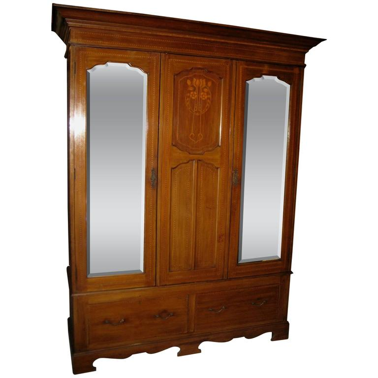 art nouveau inlaid mahogany wardrobe at 1stdibs. Black Bedroom Furniture Sets. Home Design Ideas