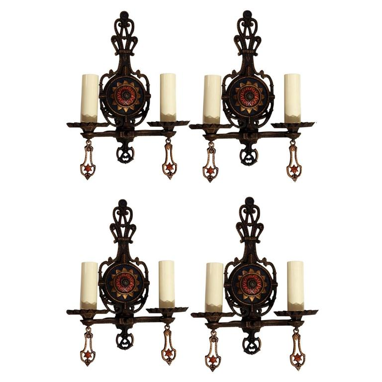 Brass Wall Sconces Electric : Antique Set of Four Cast Brass Electric Sconces Circa 1910 For Sale at 1stdibs