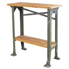 Industrial Two-Tier Wood and Metal Side Table - Shelf - Stand