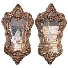 Pair of Early 18th Century Giltwood and Parcel-Gilt Venetian Mirrors