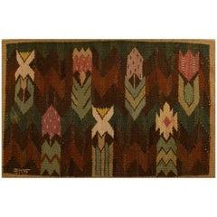 """Marta Maas-Fjetterström, 1873-1941 Handwoven Carpet, Wool, """"Rölakan"""" Technique"""