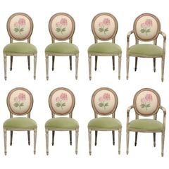 Set of Eight Painted Upholstered Dining Chairs, Late 19th-Early 20th Century