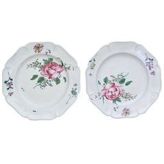 Pair of Strasbourg Faience Floral Plates