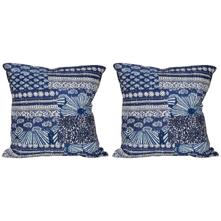 Vintage Indian Batik Kantha Indigo Patchwork with Irish Linen Cushion Pillow