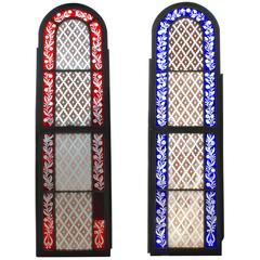 Pair of Mid-19th Century American Stained Glass Windows