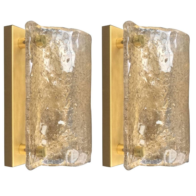Pair of Glass Sconces by Kaiser Leuchten, Germany