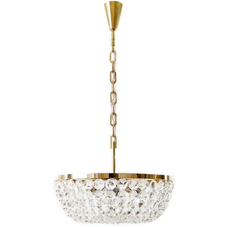 Bakalowits Pendant Light or Chandelier, Brass Nickel Crystal Glass, 1960s