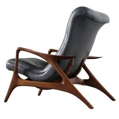Vladimir Kagan Rare Lounge Chair in Charcoal Colored Leather