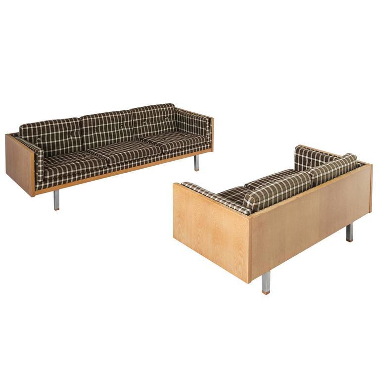 Scandinavian Living Room Set in Oak and Checkered Upholstery