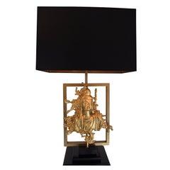Rare Table Lamp with a Buddha Bronze Figure, Maison Guerin, Paris, circa 1970