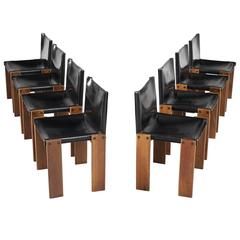 Afra & Tobia Scarpa Set of Eight Black Leather 'Monk' Chairs