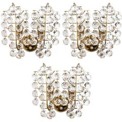 Bakalowits Sconces, Brass Crystal Glass, 1960s