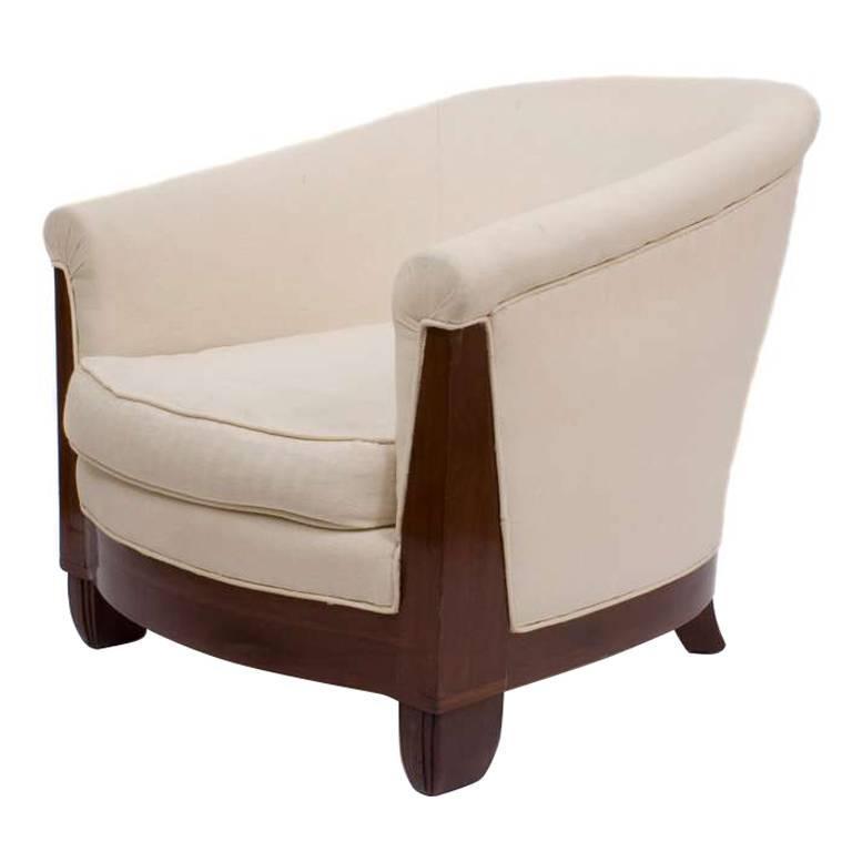 pair of art deco period mahogany barrel style chairs circa 1920s 1 art deco era furniture