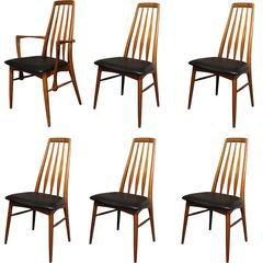 "Set of Six Danish Teak ""Eva"" Dining Chairs by Niels Koefoed for Koefoed Hornslet"