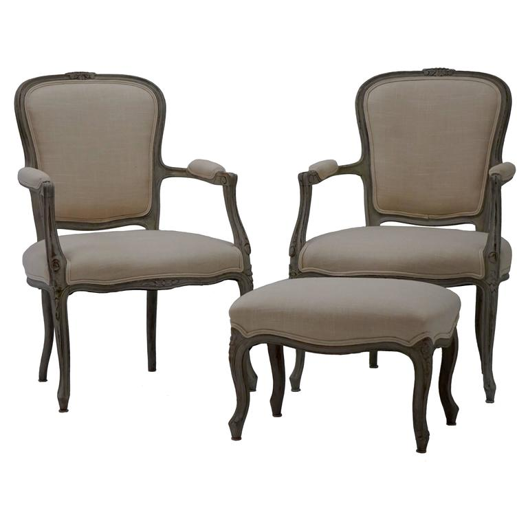 19th Century Rustic Linen Antique French Louis XV Style Armchairs (Pair)