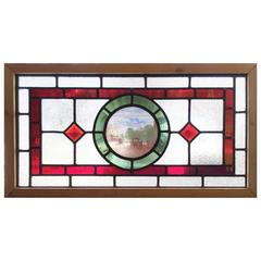 Reframed English Stained, Leaded, Jeweled and Painted Cottage Window
