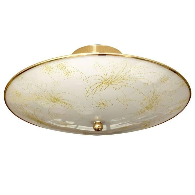 Deco Ceiling Light, French, Botanical Motive Neutral Colors Elegant Gilt Edging For Sale