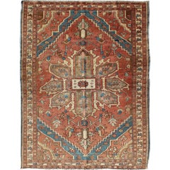 Antique Persian Small Serapi Carpet in Salmon, Light Blue and Ivory