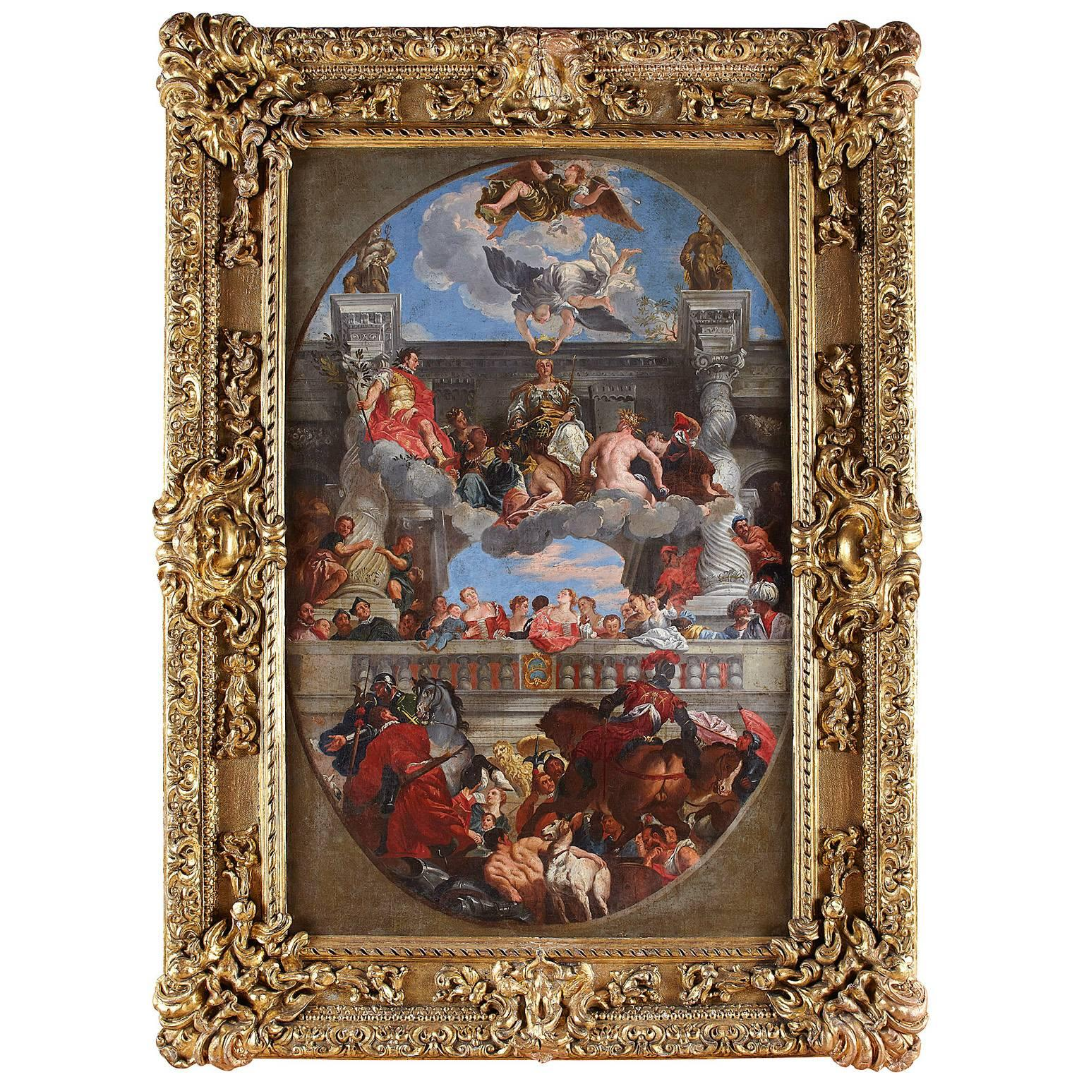 "18th-19th Century Oil on Canvas ""The Triumph of Venice"" After Paolo Veronese"