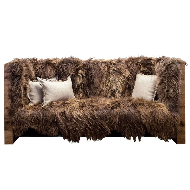 Sentient Long Wool Sofa In Icelandic Sheepskin And Reclaimed Oak For Sale