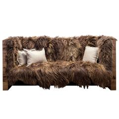 Sentient Long Wool Sofa in Icelandic Sheepskin and Reclaimed Oak