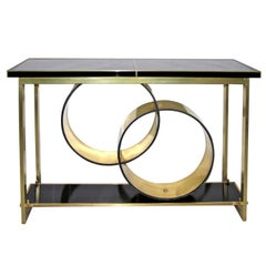 1970s Italian Modern Brass and Black Central Console