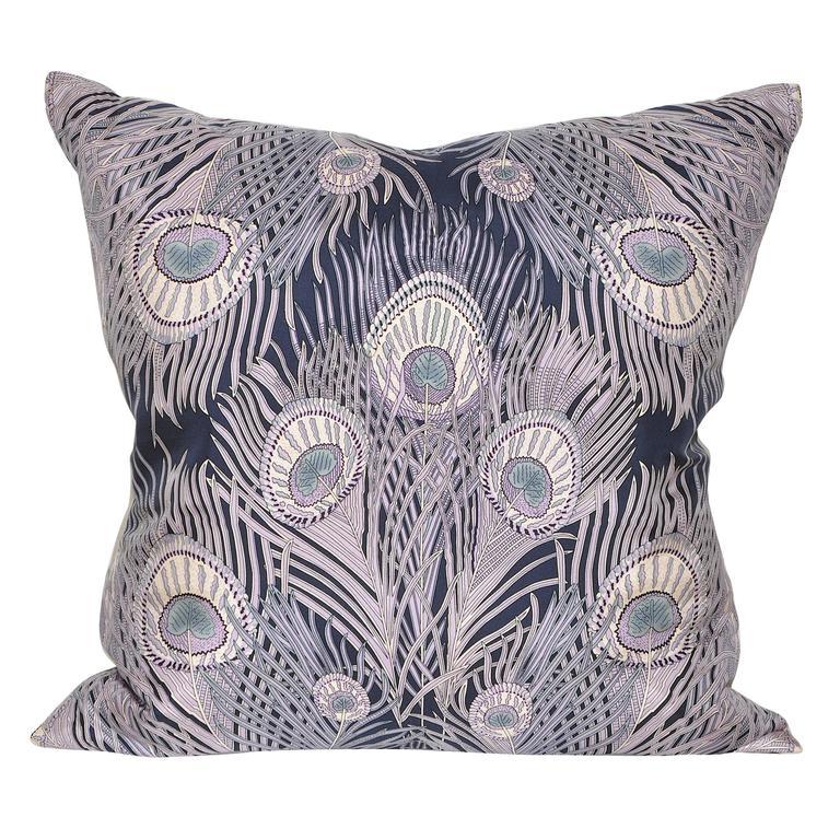 Vintage Liberty of London Peacock Silk Scarf with Irish Linen Cushion Pillow