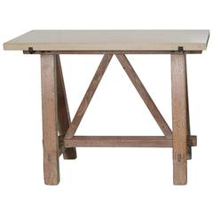 Antique French Blond Oak Saw Horse Entry Tables, circa 1910