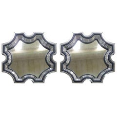 2 French Mid-Century Style Venetian Octagonal Mirrors in Style of Serge Roche