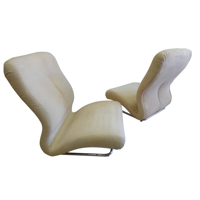 Rare Pair of Italian Mid-Century Modern / Space Age Lounge Chairs by IPE